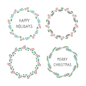 Set of christmas wreath floral frame for text decoration.