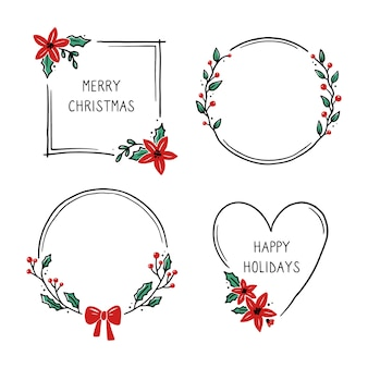 Set of christmas wreath floral frame