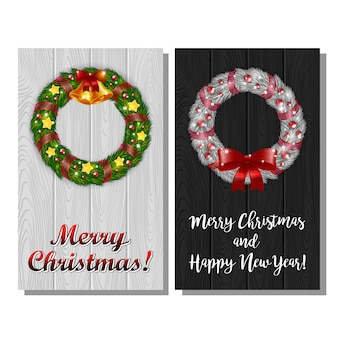 Set of christmas wreath postcards