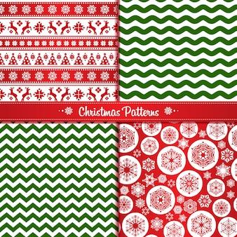 Set of christmass seamless pattern
