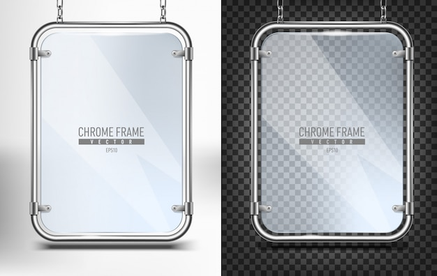 Set of chrome frame with glass for banner  . advertising space panel for text   hanging on chains on white and black background