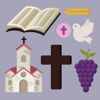 Imposta chiesa con bibbia e croce alla prima comunione