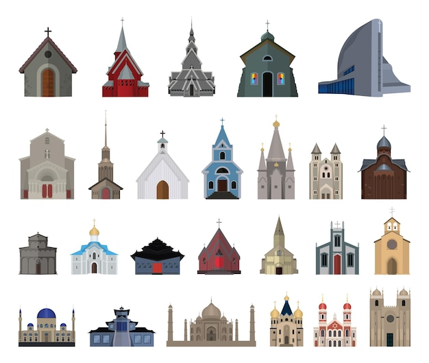 Set of churches, monasteries and mosques. vector architectural objects of different countries.