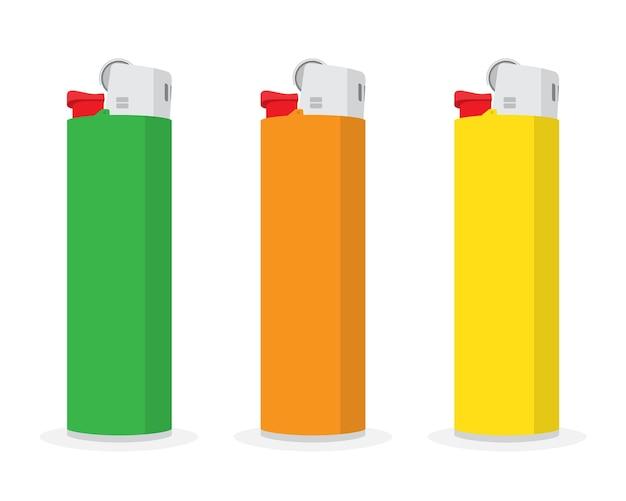 Set of cigarette lighter isolated on white