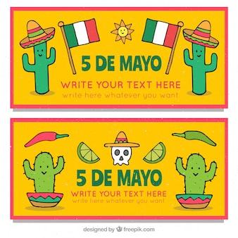 Set di banner cinco de mayo con elementi tradizionali