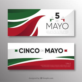 Set of cinco de mayo banners with traditional mexican elements