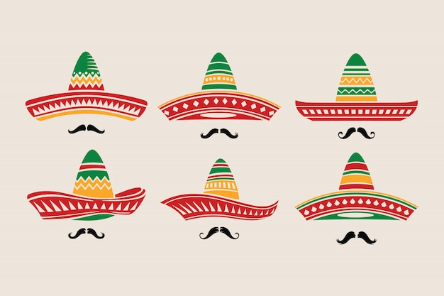 Set of cinco de mayo hat with mustache