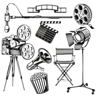 Set of cinema elements