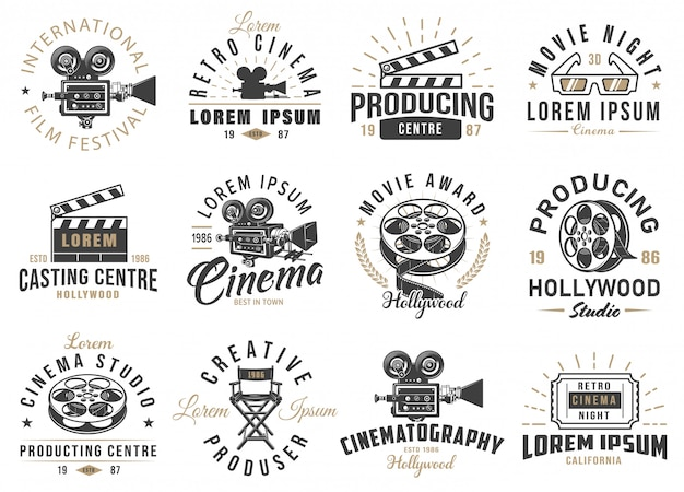 Set of cinema emblems