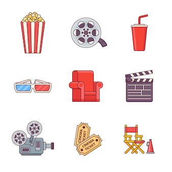 Set of cinema flat line icons.