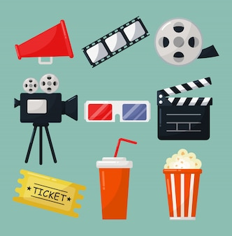Set of cinema icons signs and symbols collection for websites isolated on blue background.