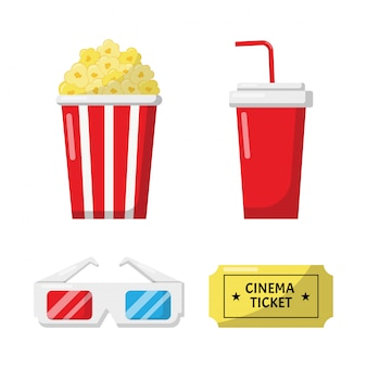Set of cinema icons signs and symbols collection for websites isolated on white background.