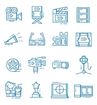 Set of cinema icons with outline style
