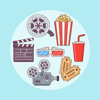 Set of cinema or movie design elements in flat line style.