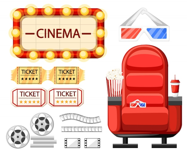 Set of cinema objects. cinema seat, glasses, tickets, film roll,reel and strip. twisted cinema tape. cartoon style .  illustration  on white background. web site page and app