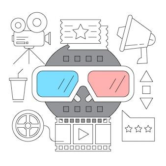 Set of cinema outline icons