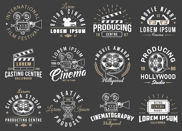 Set of cinema vintage emblems.