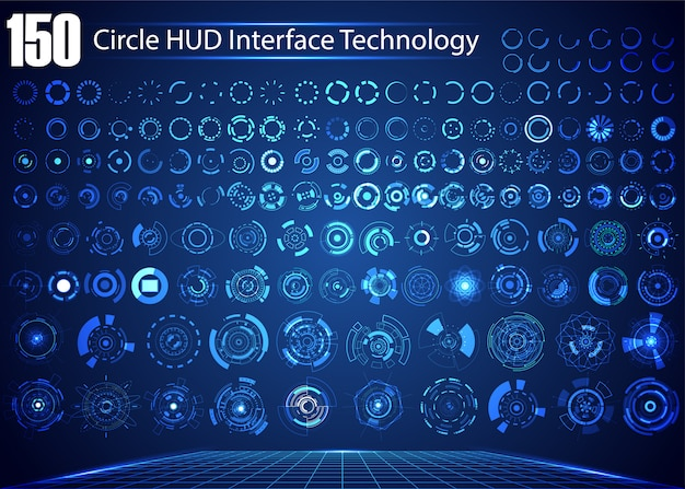 Set of circle abstract digital technology