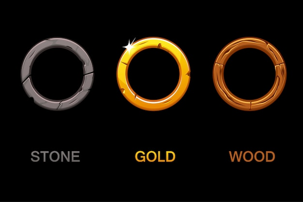 Set of circle app icons, texture frames isolated on black background, elements for ui game or web design