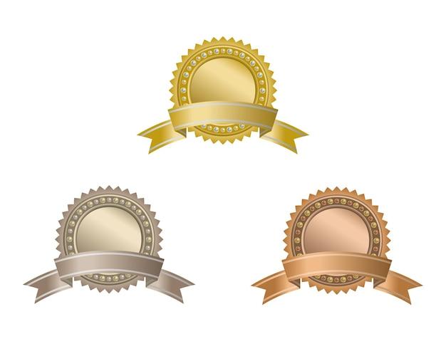 Set of circle awards with ribbons.