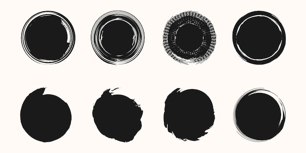Set of circle black frame painted with brush strokes on white background vector design element.