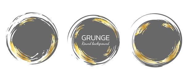 Set of circle brush strokes grunge vector frames hand drawn design vintage and retro elements