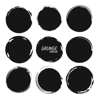 Set of circle brush strokes hand drawn paint frame for design logo banner card