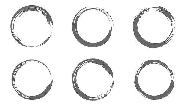 Set of circle brush strokes, hand drawn paint frame for design logo, banner. vector illustration.