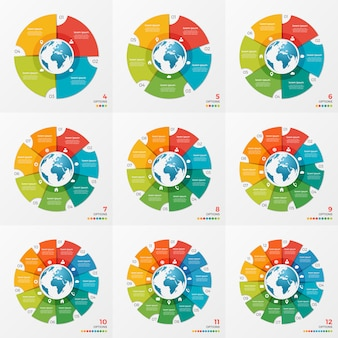 Set of circle chart infographic designs with globe