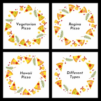 Set of circle frames. different types of christmas pizza.
