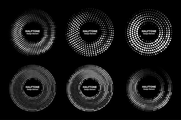 Set of circle frames halftone dots logo collection