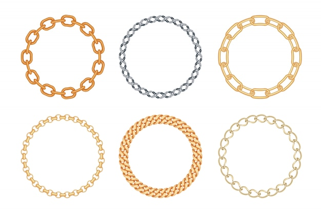 Set of circle golden and silver chain frames.