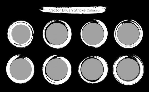 Set of circle grunge brush stroke template Premium Vector
