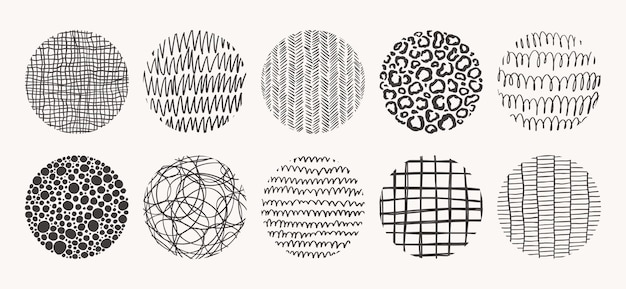 Set of circle hand drawn patterns.   textures made with ink, pencil, brush. geometric doodle shapes of spots, dots, circles, strokes, stripes, lines.