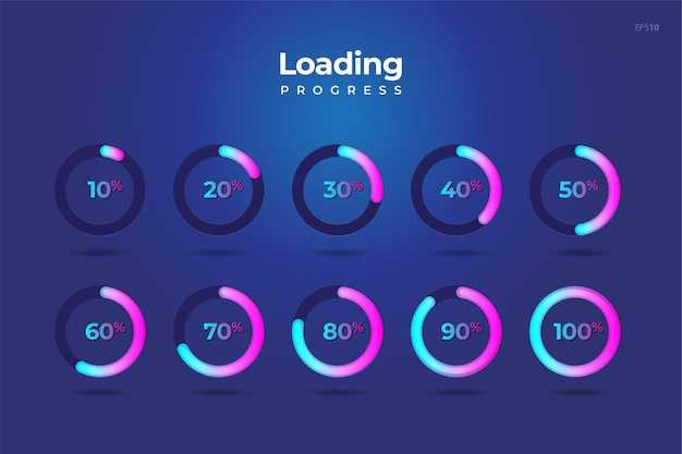 Set circle loading  progress  download  percentage