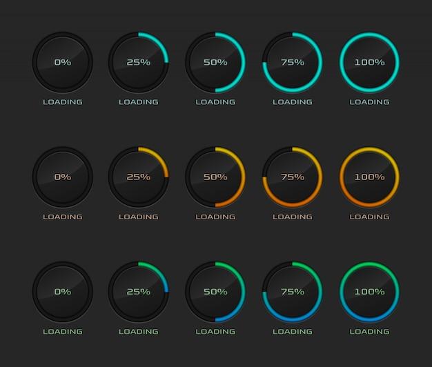 Set of circle loading or progress percentage