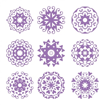 Set of  of circle ornament, abstract logo, floral  art pack, collection