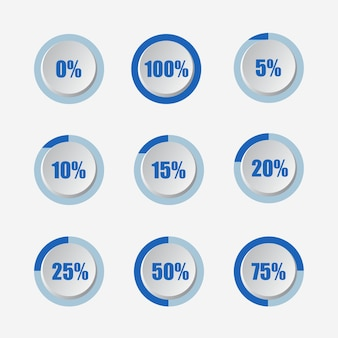 Set of circle percentage diagrams 3d modern sign vector illustration