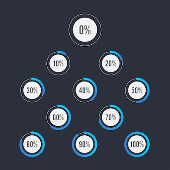Set of circle percentage diagrams for infographics design