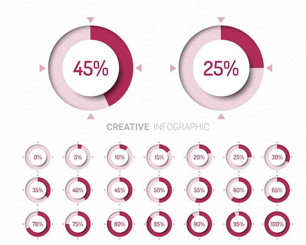 Set of circle percentage diagrams for infographics.