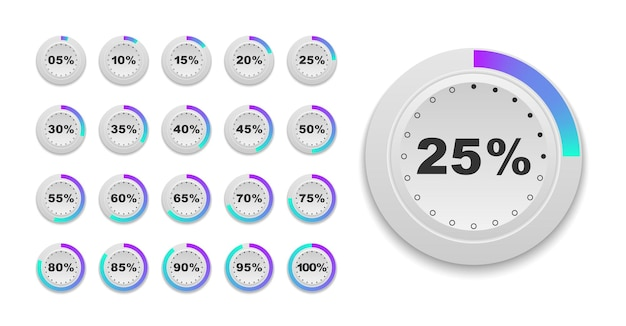 Set of circle percentage diagrams ready to use for web design user interface ui