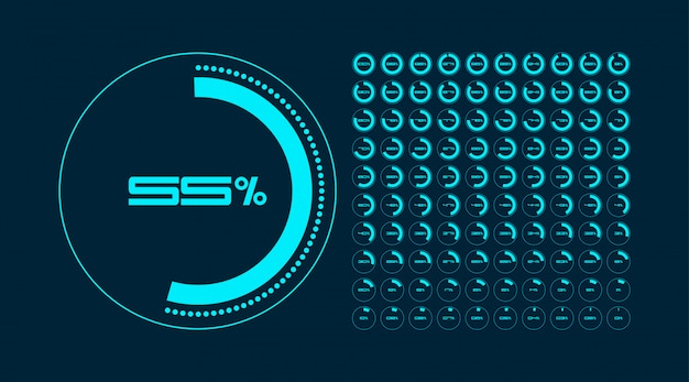 Set of circle percentage diagrams. timer. infographic