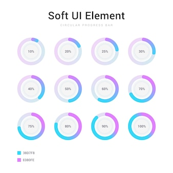 Set of circle percentage progress bar soft ui element
