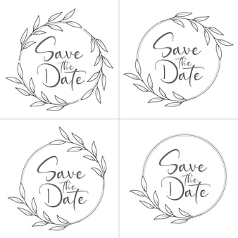 Set of circle style minimal floral wedding monogram and wedding frame