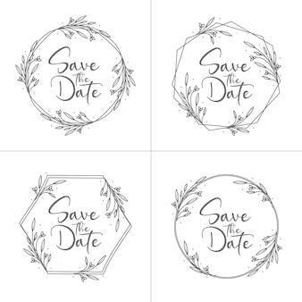 Set of circle style minimal floral wedding
