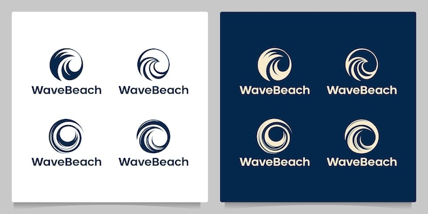 Set of circle wave ocean logo design isolated with gold color