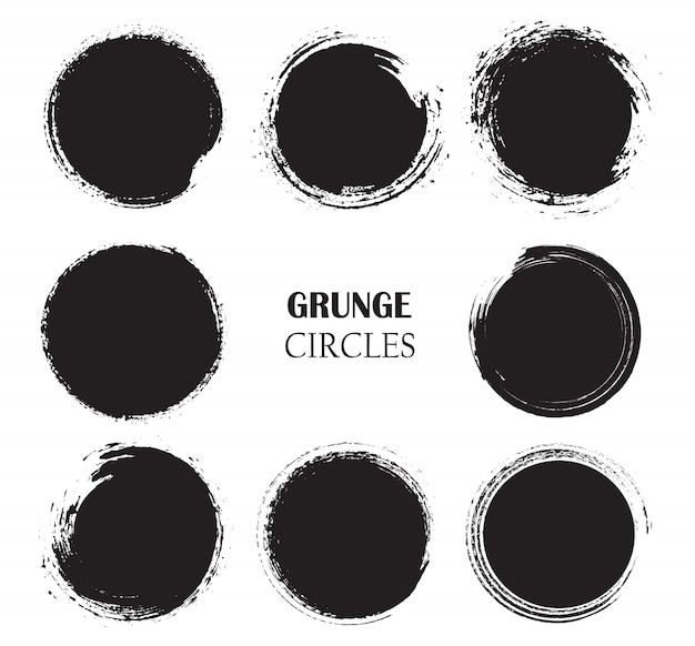 Set of circles in grunge style