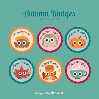 Set of circular autumn badges with beautiful characters