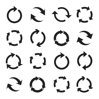 Set of circular black arrows.