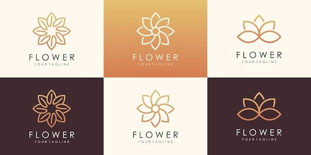 Set of circular flower lotus logotype. linear universal leaf floral logo